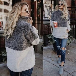 Maggie Two Toned Sheri Pullover - Charcoal